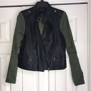 Lightly worn faux leather army green zipper jacket